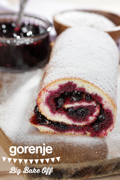 GBBO Swiss roll with homemade blackcurrant jam
