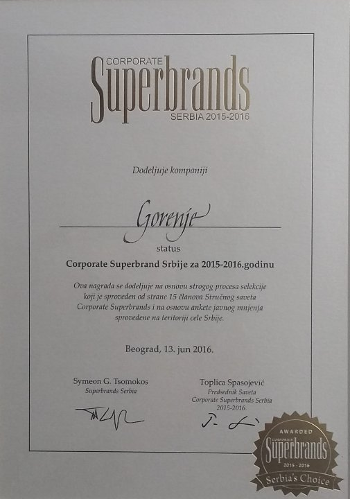 Gorenje dobitnik nagrade Corporate Superbrands Serbia 2015/2016