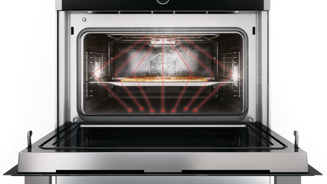 The Stirrer Technology Permits A Standard Size Baking Tray To Be Placed In Microwave Oven S Entire Width Is Used Saying Goodbye Conventional