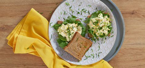 Open-face egg salad sandwich