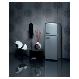 Silver refridgerator Gorenje Retro Chic Collection.