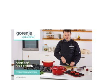 Deep red collection cookware presentation