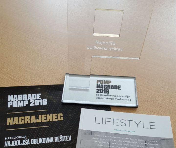 Best design solution award for Gorenje Lifestyle Magazine